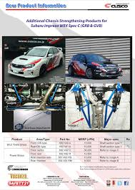 subaru cusco chassis components for gdb gvb subaru impreza wrx parts u0026 products