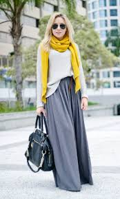 gorgeous color combinations for cold days gray maxi skirts gray