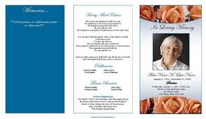 template for funeral program editable trifold blank funeral program template with blue and