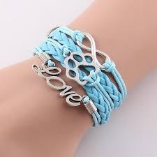 bracelet infinity love images Handmade leather infinity love bracelet pup bling jpg