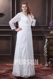 robe de mari e dentelle manche longue robe de mariée grande taille simple encolure en v manche longue en
