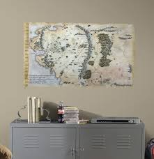 The Hobbit Map The Hobbit Middle Earth Map Peel U0026 Stick Giant Wall Decals