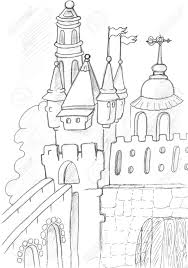 medieval castle sketch pencil drawing stock photo picture and