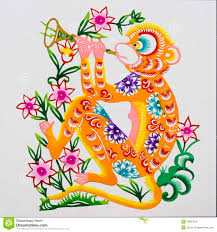 zodiac color monkey color paper cutting chinese zodiac royalty free stock