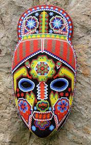 bead masks handmade beaded huichol papier mache mask green jicuri