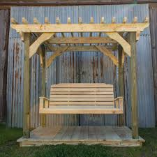 mini pergola w deck and lumbar swing