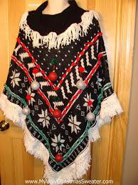 ugly christmas sweater party holy grail of ugly sweater poncho with 3d