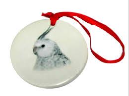 porcelain white cockatiel ornament