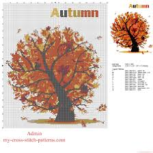 autumn tree with falling leaves free cross stitch pattern