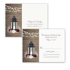 lantern wedding invitations rustic metal lantern wedding rsvp postcards burgundy floral
