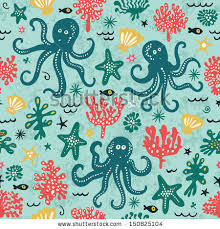 octopus wrapping paper seamless pattern underwater animals stock vector