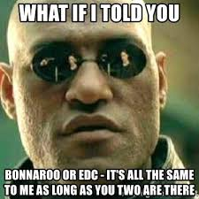 Bonnaroo Meme - what if i told you bonnaroo or edc it s all the same to me as long