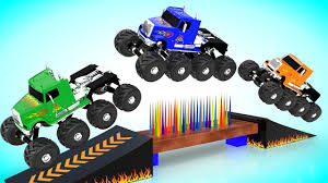 monster truck for children cartoon monster trucks performing stunts for kids colors for kids to