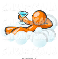 cartoon martini vector clip art of a shiny relaxed orange man drinking a martini
