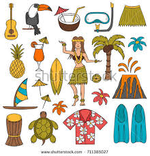 Hawaii travel clipart images Vector hand drawn hawaii objects stock vector 467425388 shutterstock jpg