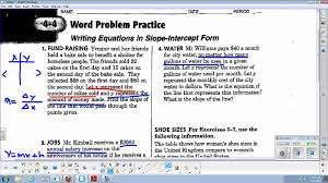 lin alg 4 4 word problem practice for slope intercept form youtube