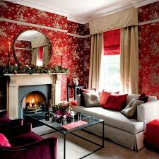 red wallpaper in modern living room with roun mirror on fireplace