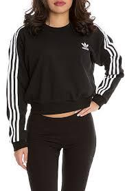 adidas crop top sweater adidas sweater 3 stripe crop black karmaloop com