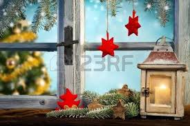 winter window view into old cottage interior stock photo picture
