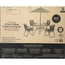 5 Piece Folding Table And Chair Set Mainstays Searcy Creek 6 Piece Folding Outdoor Dining Set