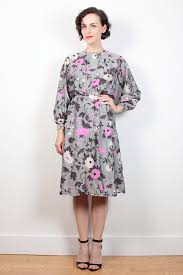 vintage 60s dress steel gray pink floral print midi knee length