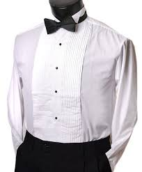 tuxedo shirt with black bow tie wing collar studs all sizes mens