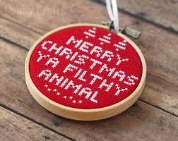 Merry Christmas Ornament Cross Stitch Diy Christmas Ornament Diy Candy