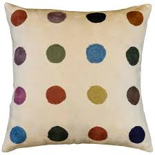 Modern Cushions For Sofas Polka Dot Contemporary Ivory Pillow Cover Embroidered 18 X