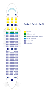 A380 Seat Map Airbus A340 500 Azerbaijan Airlines