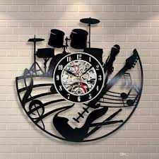 music note home decor instrument guitar drums set wall clock music notes vinyl wall art