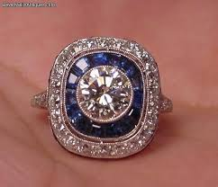 art deco design 1 50c diamond platinum sapphires ring for sale