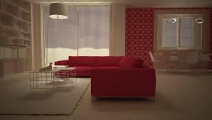 red livingroom virtual image rendered with domus3d 2017 and v