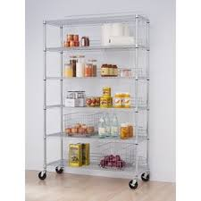 Chrome Bookshelves by Trinity 5 Tier Heavy Duty Commercial Chrome Wire Shelving Rack
