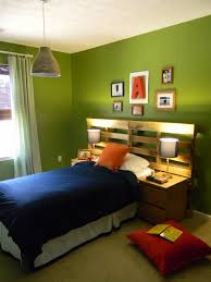 green wall paint with icture frame and green curtains with glass