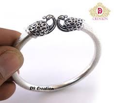 silver plated bangle bracelet images Kada silver plated peacock face bangle fashion wali choodiyan jpg