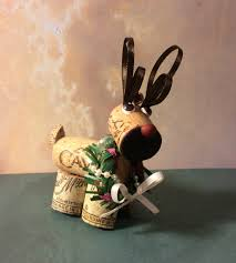 wine cork craft reindeer holiday christmas ornament by