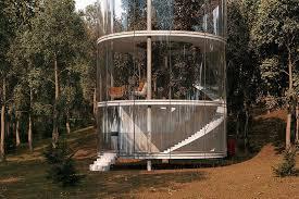 tubular glass vacation home encases a grown tree mnn