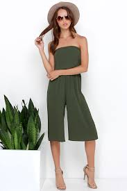 green jumpsuits culotte jumpsuit black jumpsuit strapless jumpsuit 58 00