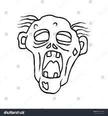 halloween stuff on black background funny moaning zombie line art hand stock vector 306023609