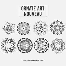 floral ornaments in nouveau style vector free