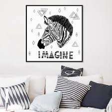 popular big black head buy cheap big black head lots from china modern black white animals zebra head minimalist canvas a4 big art print poster nordic wall picture