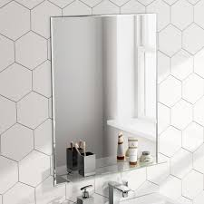 bevelled and plain bathroom mirrors glass shelves vertical