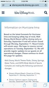 Blizzard Resume Disney Closes Disney World During Hurricane Irma