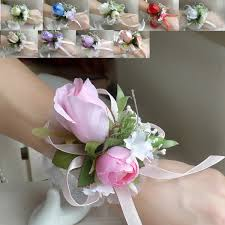 wrist corsages for homecoming wedding or prom wrist corsage 10colors silk and ribbons