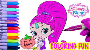 shimmer with pumpkin coloring page fun shimmer and shine speed