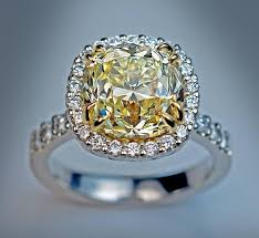 fancy yellow diamond engagement rings 5 37 carat fancy light yellow cushion cut diamond engagement
