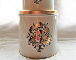 metal kitchen canister sets decoware canister etsy