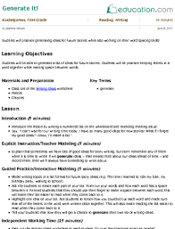 lesson plans for kindergarten writing education com