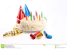 party stuff birthday cake and party stuff stock photo image 18654374