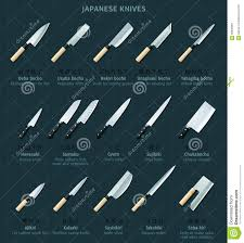 types of japanese kitchen knives japanese knives stock vector illustration of preparation 56895987